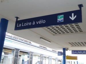 Signs at the train station direct you to Loire a Velo